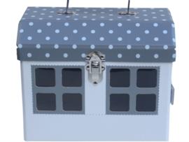 Huis speelkoffertje grijs