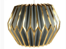 Lampion hanglamp grijsblauw/goudkl.