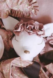 Dierenkop hert Old Pink powder flowers, Love Me Decoration