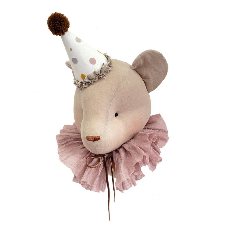 Dierenkop linnen circus beer met powder kraag, Love Me Decoration