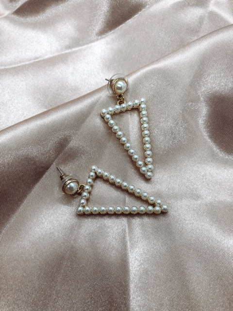 Earrings - Pearl Triangle