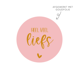 Sticker heel veel liefs, roze 2 • ø40mm (10 stuks)