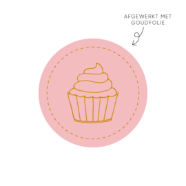 Sticker cupcake, roze • ø40mm (10 stuks)