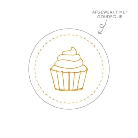 Sticker cupcake, wit • ø40mm (10 stuks)