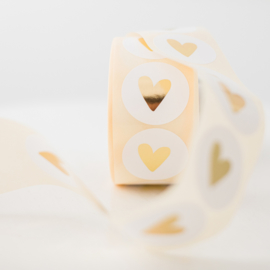 Sticker hart, wit • ø40mm (10 stuks)