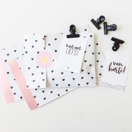 Sticker hart roze • ø40mm (10 stuks)