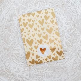 Zakjes hartjes goud • 12x19 (5 stuks)