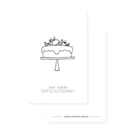 Minikaartje 85x55 • Van harte gefeliciteerd! (taartje)