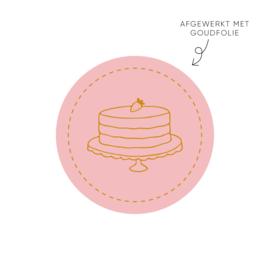Sticker taart met aardbei, roze • ø40mm (10 stuks)
