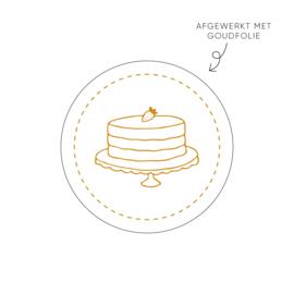 Sticker taart met aardbei, wit • ø40mm (10 stuks)