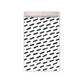 Zakjes zwarte streep met roze binnenkant • 12x19 (5 stuks)