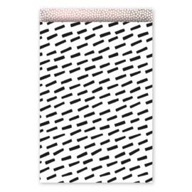 Zakjes zwarte streep met roze binnenkant • 17x25 (5 stuks)