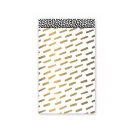 Zakjes wit met gouden strepen • 12x19 (5 stuks)