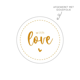 Sticker with love (wit) • ø40mm (10 stuks)