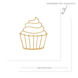 Minikaartje 85x85 • Cupcake (goudfolie)