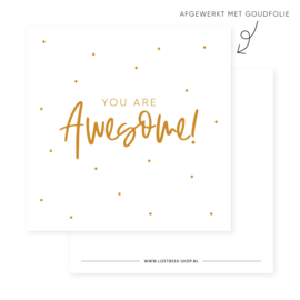 Minikaartje 85x85 • You are awesome! (goudfolie)
