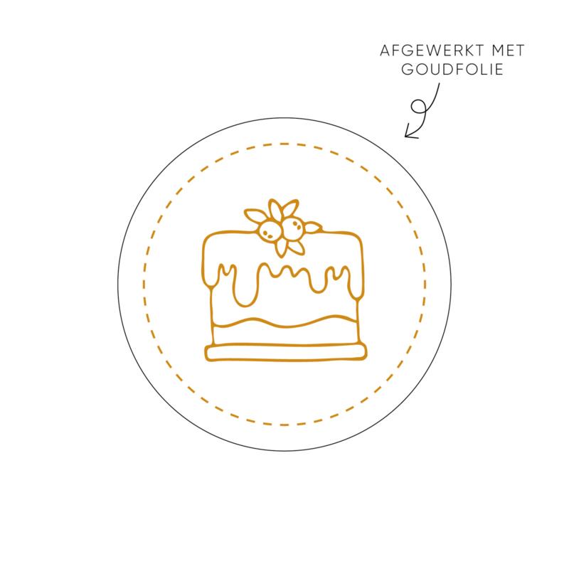 Sticker taart, wit • ø40mm (10 stuks)