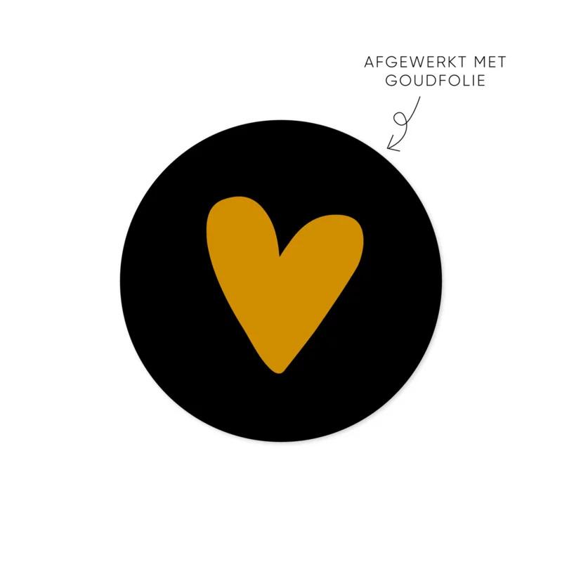 Sticker hart, zwart • ø40mm (10 stuks)