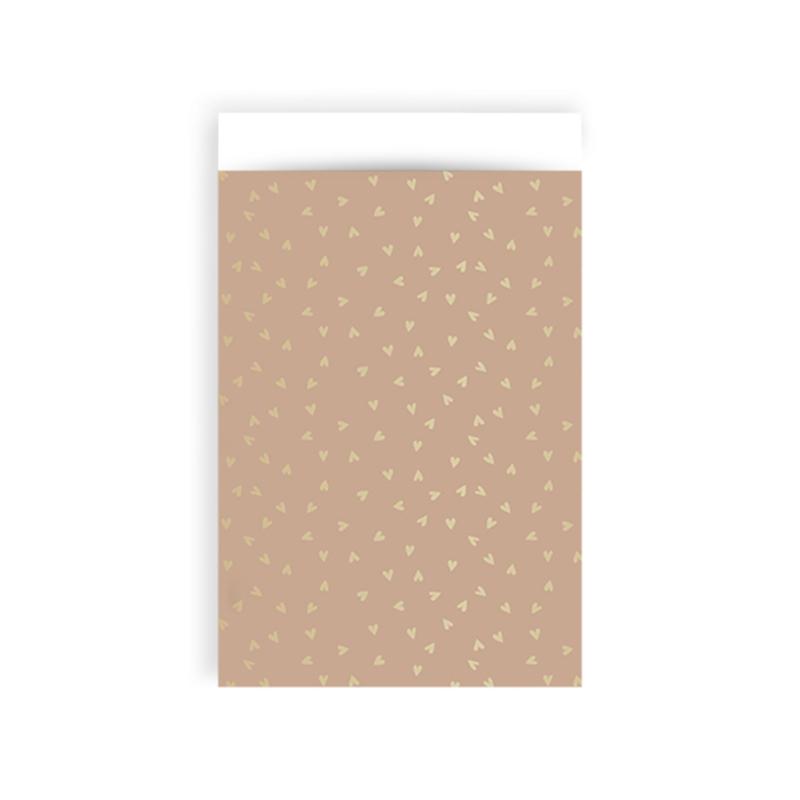 Zakjes hartjes roze & goud • 12x19 (5 stuks)