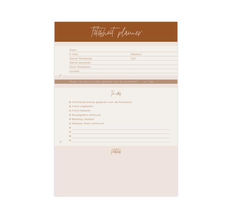 Planblok • Fotoshoot planner (50 vel, bruin)