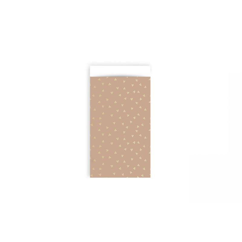 Zakjes hartjes roze & goud • 7x13 (5 stuks)
