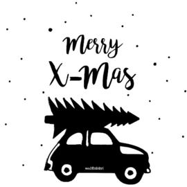 Raamsticker auto met kerstboom