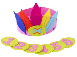 Verjaardagskroon met cijfers roze