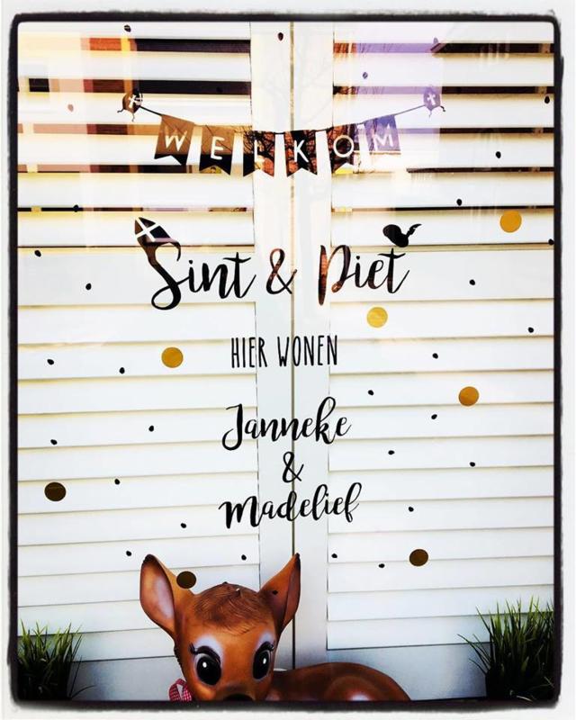Raamsticker Welkom Sint & Piet met naam