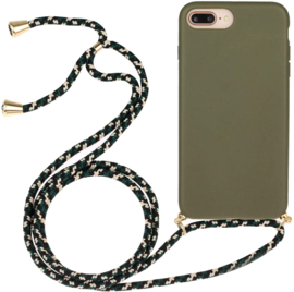 iPhone 7 Plus / 8 Plus Crossbody TPU Hoesje met Koord Groen