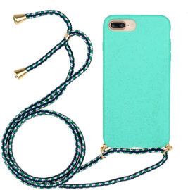 iPhone 7 Plus / 8 Plus Crossbody TPU Hoesje met Koord Mint