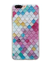 iPhone 7 Plus / 8 Plus 3D Reliëf Hoesje Lichtgekleurde Ruiten