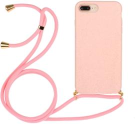 iPhone 7 Plus / 8 Plus Crossbody TPU Hoesje met Koord Roze