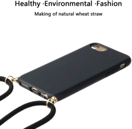 iPhone 7 / 8 / SE 2020 Crossbody TPU Hoesje met Koord Zwart