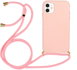 iPhone 11 Crossbody TPU Hoesje met Koord Roze