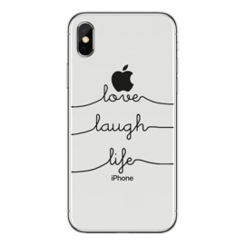 iPhone X / Xs Soft TPU Hoesje Love Laugh Life Print