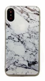 iPhone X / Xs Soft TPU Hoesje Marmer Design Zwart & Wit