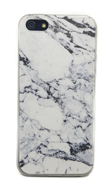 Iphone 5 / 5S / SE Soft TPU Hoesje Marmer Design Zwart & Wit