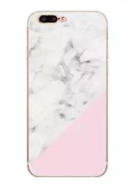 iPhone 7 Plus / 8 Plus Geometrisch TPU Hoesje Marmer Wit / Roze