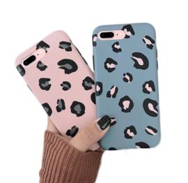 iPhone 7 Plus / 8 Plus Soft TPU Hoesje Luipaard Print Blauw / Roze