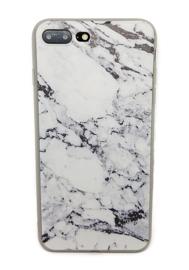 Iphone 7 Plus / 8 Plus Soft TPU Hoesje Marmer Zwart & Wit