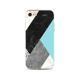 iPhone 7 / 8 Geometrisch TPU Hoesje Marmer Zwart / Groen