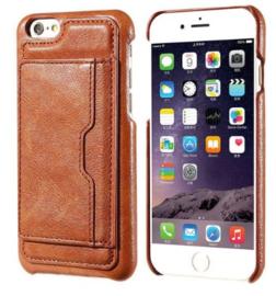 iPhone 6 Plus / 6S+ Leren Back Cover Hoesje Met Pasjesvakje