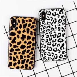 iPhone Xs Max Soft TPU Hoesje Luipaard Print Bruin / Wit