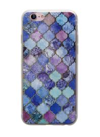 iPhone 7 / 8 3D Reliëf Hoesje Donkergekleurde Ruiten