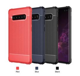 Galaxy S10 TPU Matte Kleuren Hoesje Zwart / Rood / Blauw