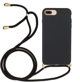 iPhone 7 Plus / 8 Plus Crossbody TPU Hoesje met Koord Zwart