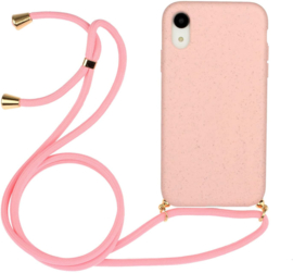iPhone Xr Crossbody TPU Hoesje met Koord Roze