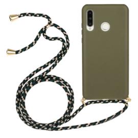Huawei P30 Lite Crossbody TPU Hoesje met Koord Groen