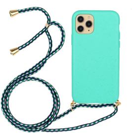 iPhone 11 Pro Max Crossbody TPU Hoesje met Koord Mint