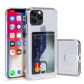 iPhone 12 / 12 Pro Transparant TPU Hoesje Met Card Slot - Pasjesvakje